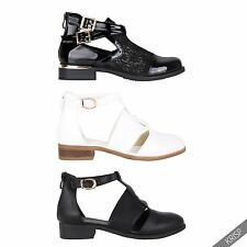 Womens Ladies Cut Out Casual Flat Heel Buckle Ankle Boots Zip Back Chelsea Shoes