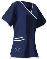 Dallas Cowboys Women's Mock Wrap Scrub Top