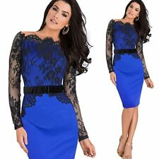 Elegant Women Ladies Off Shoulder Floral Lace Patchwork Bodycon Pencil Dress