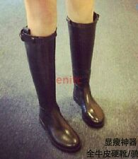 Synthetic Leather Knee High Boots Platform Womens Flats Shoes Knight Booties N-3