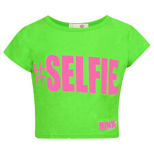 Girls #Selfie Crop Top Short Sleeve Kids Fashion Party Tops Neon Green 7-13 Year
