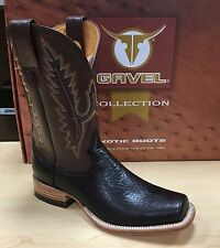 Gavel Men's Handcrafted Bullhide Leather Square Toe Western Cowboy Boots Brown