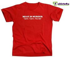 MEAT IS TASTY MURDER FUNNY COOL HUMOR NEW MENS SHORT SLEEVE T-SHIRT ANY SIZE!