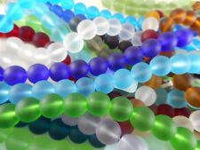 2 Strands Sea Glass 6mm Round Beads You Pick Color