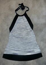 Women's bebe Sexy Casual / Dressy Gray Black & Silver Halter Top Size Small