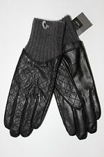 Mossimo Women's Black Leather Gloves with Ribbed Knit Cuff - OSFM - NWT