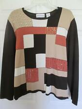 ALFRED DUNNER WOMAN Sweater Pullover Sz XL Patchwork Brn Tan Wht Orang BLING EUC