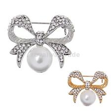 Alloy Rhinestone Bowknot Pearls Brooch Pins Jewelry Costume