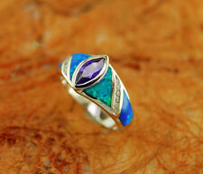 Silver Ring with Blue Opal Inlay and Center Amethyst Stone-Sterling Silver- Gift