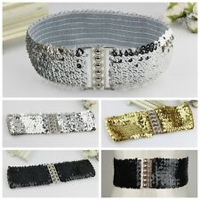 Lady Elastic Sequins Bling Waist Belt Alloy Stretch Wide Waistband 3 Colors New