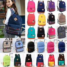 Womens Mens Bags Backpack Canvas Rucksack Outdoor Satchel School Shoulder Bag