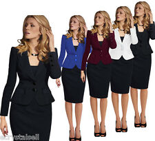 Womens Elegant Lapel Wear to Work Office Lady Career Business Suits Blazer Coat