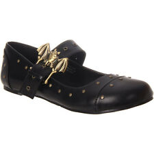 Women's Maryjane Bat Buckle Flat With Rivet Detail Gothic Punk Shoe