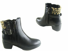 NEW LADIES  WOMEN GIRLS FUR ANKLE BOOT WITH BUCKLE SIZE 3 - 8