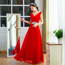 New Sexy Chiffon V Neck Long Bridesmaid Prom Evening Formal Pageant PartyDresses
