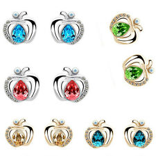 Elegant Fashion Silver/Gold A pple Womens Crystal Rhinestone Ear Stud Earrings