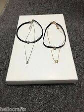 HC Women Girls Fashion Clavicle Double Layer Crystal Chain Necklace Jewelry