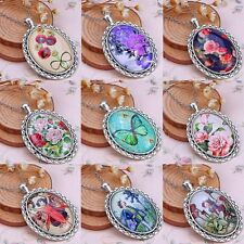 Lady Retro Time Gem Pendant Necklace Chain Oval Girl Butterfly Flower Jewellery