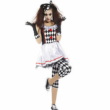 Ladies Harlequin Honey Clown Jester Cosplay Carnival Party Fancy Dress Costume