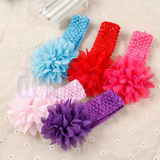 Baby Girls Large Ruffle Flower Lace Hairband Soft Elastic Headband Hair Band DE