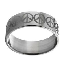 Stainless Steel Etched Peace Sign Ring - new