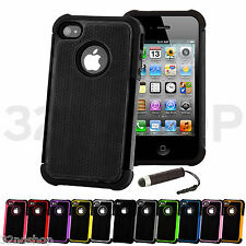 New Premium Grip Dual Series Case Cover Fits iphone 4 &4S +Screen Protector
