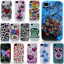 Floral Printed Silicone TPU Case Flower Pattern Gel Cover for Apple iPhone 4/4s