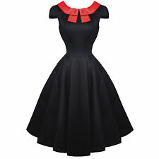 Hearts and Roses London Black Red Bow 50s Vintage Tea Party Dress UK