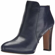 Nine West Womens Gidran Navy Leather Ankle Boot