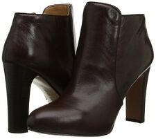 Nine West Womens Gidran Dark Brown Leather Ankle Boot