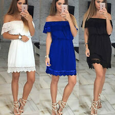 Womens Sexy Off Shoulder Lace Crochet Cocktail Party Evening Mini A-Line Dress