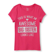 """~NEW~ """"AWESOME BIG SISTER"""" Girls Graphic Shirt 4 4T 5-6 7-8 10-12 14 Pink Gift!"""