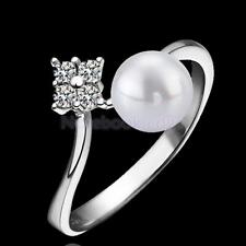 Fashion Crystal Pearl Ring Bride Engagement Promise Ring Gift Silver US Size6-9