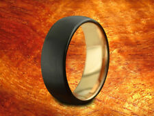 Black & Rose Gold Tungsten Band 8MM Brushed Finish-Wedding Ring,Two Tone Ring.
