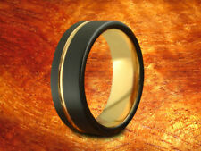 Black & Rose Gold Tungsten Band 8MM,Center Rose Line-Wedding Ring,Two Tone Ring.