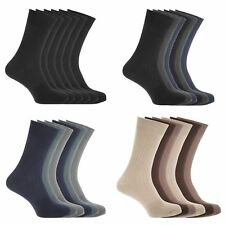 FLOSO Mens Ribbed 100% Cotton Socks (6 Pairs)