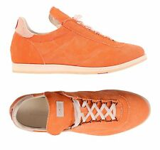 KITON NAPOLI Handmade Orange Canvas Casual Sneakers Athletic Shoes NEW