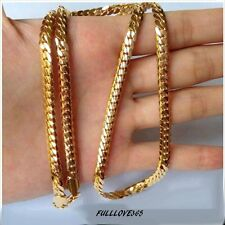 """18k Yellow Gold Filled Mens Necklace 24"""" Snake Curb Chain 4MM GF Fashion Jewelry"""