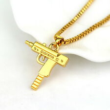 Top Quality Uzi Gun Gold Pendant Necklace Chain 18KT Gold Plated Hip Hop Bling R