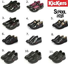 Kickers Back To School Collection Boys Girls Durable Smart Leather Shoes Black