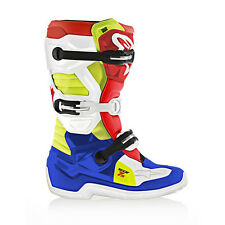NEW Alpinestars Tech 7s YOUTH KIDS MX Motocross Boots - Blue/White/Red/Fluo Yell