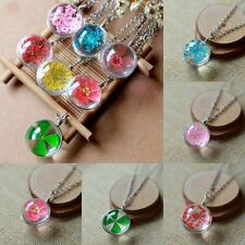 NEW Transparent Crystal Ball Glass Clover Dried Flower Necklace Pendant Jewelry