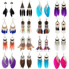 1 Pair Fashion Women Lady Long Feather Dangle Chandelier Earrings Jewelry New