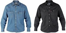 DUKE LONDON WESTERN STYLE DENIM SHIRT IN STONE WASHED BLUE & BLACK,SIZE 1XL-6XL