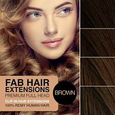 Stunning Remy Full Head Clip In Human Hair Extensions BROWN