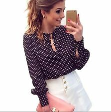Chiffon Polka Dots Casual Round Neck Shirt New Women Long Sleeve Blouses Summer