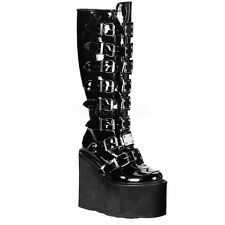 DEMONIA SWING-815 Women Platform Goth Punk Cyber Metal Plates Knee High Boots