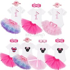 3PCS Baby Girls 1st Birthday Romper Jumpsuit Tops+Tulle Skirt+Headband Outfit
