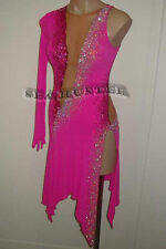 U4781 hot pink Ballroom women Latin chacha salsa rumba dance dress Custom made