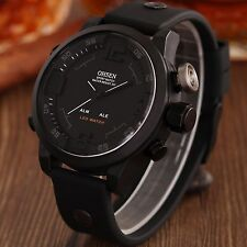 OHSEN Mens Big Face LED Digital Analog Quartz Sport Watch Waterproof Military